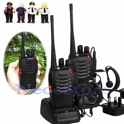 2pcs Baofeng Walkie Talkie UHF 400-470MHZ 2-Way Radio 16CH 5W BF-888S Long Range