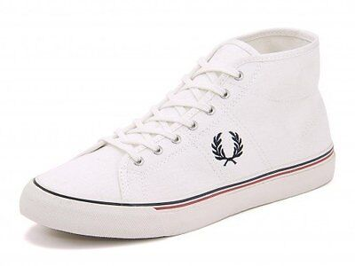Fred Perry Men/'s Kendrick Mid Canvas White Olive Camo Blue Trainers All Sizes