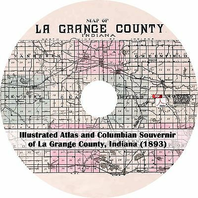 IN History Genealogy Maps Book on CD 1893 Plat Book of Noble County Indiana