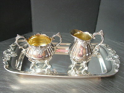 "Wallace Baroque Silver Cream Pitcher Sugar Bowl Lid & 13"" Tray 3 pc  Silverplate"