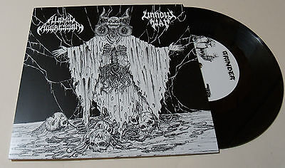 "Atomic Aggressor/ Unholy War Split 7"" Vinyl Black Metal RARE Grinder Magazine"