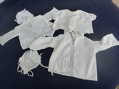 Three vintage embroidered baby shirts, white