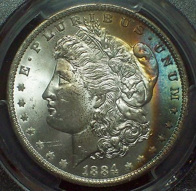 1884 O PCGS MS-64 *SILVER* Morgan Dollar Gorgeous RAINBOW TONE Obverse! Bright