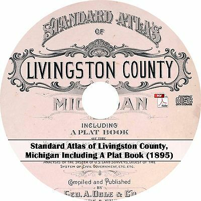 1895 Atlas of Livingston County, Michigan - MI History Genealogy Maps Book on CD