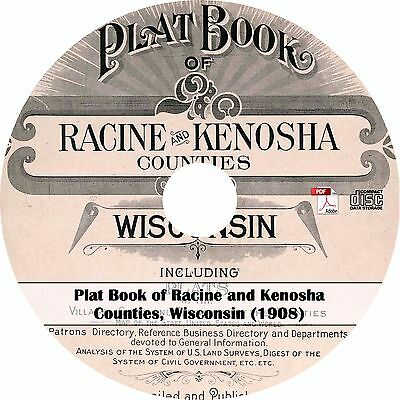 1908 Racine & Kenosha County, Wisconsin Plat Book - WI Atlas Maps on CD