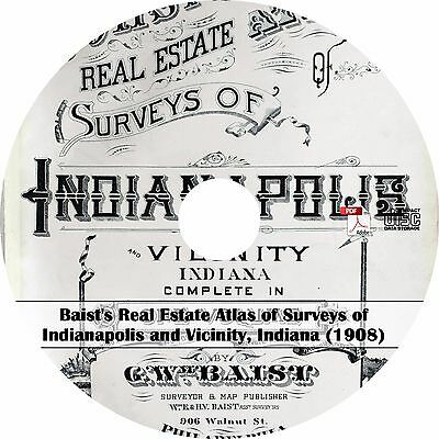 1908 Real Estate Atlas of Indianapolis Indiana - IN History Genealogy Maps CD