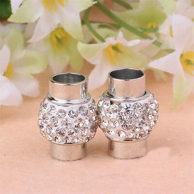 5pcs DIY Jewelry Findings Rhinestone Clay Pave Magnetic Clasps 5/6/7/8mm