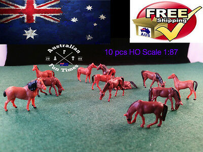 10 Ho Scale Model Realistic Farm Animals Horses People Figures Locomotive 1:87