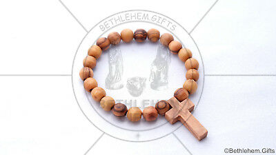 HAND MADE OLIVE WOOD Bracelet wooden Cross Religious Holy Land