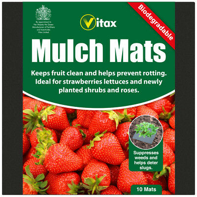 Vitax Pack Of 10 Biodegradable Gardening Mulch Mats Strawberries Lettuce Shrubs