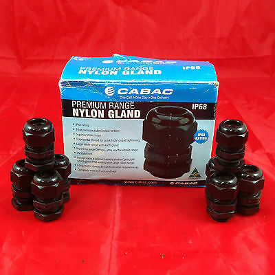 25 x GN20 Cabac Cable Gland Nylon Black Locknut Seal Cable 8-13mm IP68 glands