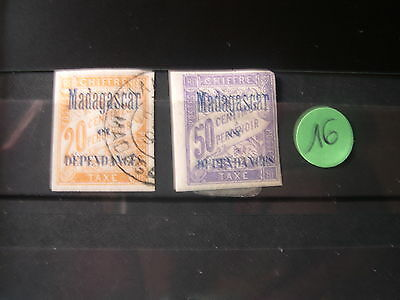Timbres Taxes Madagascar N°3 Et N°6 Obliteres 20  50 Centimes Ref 4 5 Cb Ct 25E