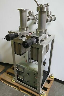 "Two 4"" Stainless Steel Vacuum Chambers Ion Pumps Gate Valves GV-4000V-05"