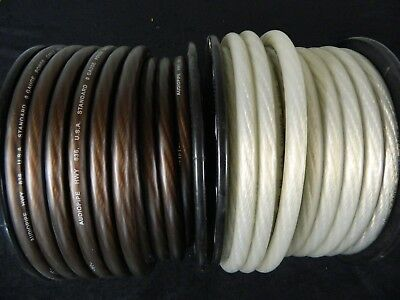 0 Gauge Wire 30 Ft 15 Black 15 Silver Superflex 1/0 Awg Power Ground Stranded