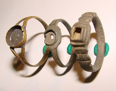 Ancient bronze rings 3 pieces Middle Ages original