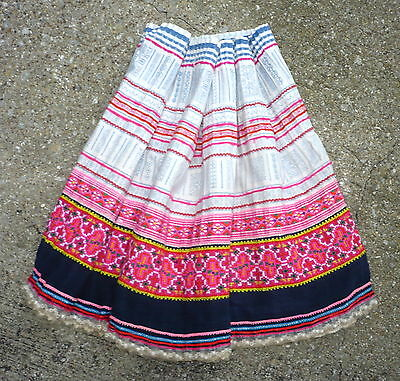 """CHINESE MIAO Textile Art Pink White Material Cotton Skirt Fabric 184""""x20"""""""