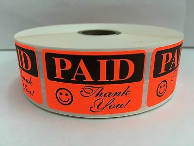 1000 Labels 1.25x2 Bright Red PAID THANK YOU Retail Price Point Pricing Stickers