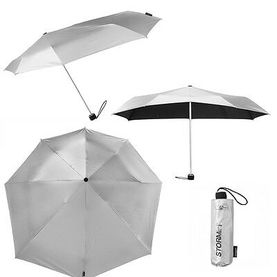 Compact Folding Storm Umbrella with Aero Silver Canopy - Windproof tested 80km/h