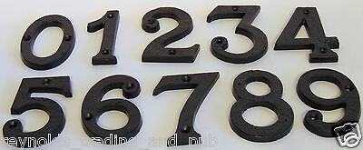 "3"" Heavy Black Antique Wrought Cast Iron Metal House Door Gate Number 0123456789"