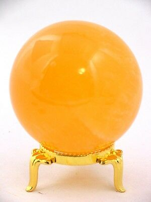 BUTW Mexican Orange calcite healing gazing sphere 52mm lapidary orb 2040P