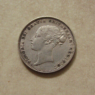 SILVER SIXPENCE 1878 COIN QUEEN VICTORIA EXTREMELY FINE GRADE (DIE No. 3)