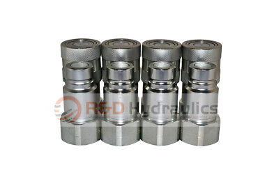 "Flat Face Hydraulic Quick Couplers 1/2"" Bobcat/Skid Steer (4pk)"