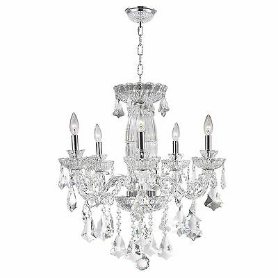 "US BRAND Olde World 5 Light Chrome French Lead Crystal Chandelier 25"" Large"