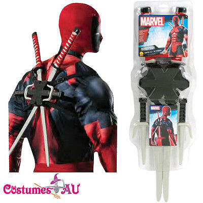 Liscensed Deadpool Weapon Costume Accessories X-men Kit Marvel Katana Sais Sword