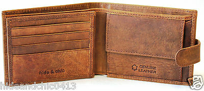 RFID Security Lined Vintage Leather Wallet. Quality Full Grain Cow Hide. 12047.