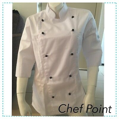 New Traditional Chef Jacket Ladies 3/4 Sleeve, White, Chef Armour ( Ca )