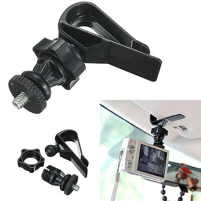 Black Car Sun Visor 1/4 Screw Mount Holder Tripod for Gopro Sport Camera GPS