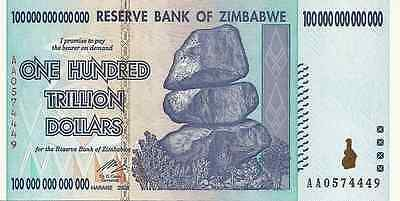 Zimbabwe 100 trillion dollars note UNC 2008 inflation currency AA series