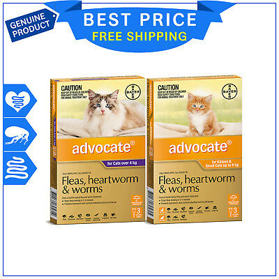 ADVOCATE for Cats 3 Pipettes All sizes Flea Heartworm Worm treatment by Bayer