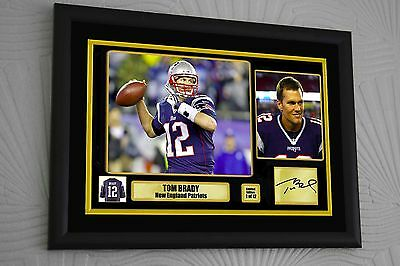 "Tom Brady Patriots Large A3 Limited  Framed Canvas tribute Signed ""Great Gift"""