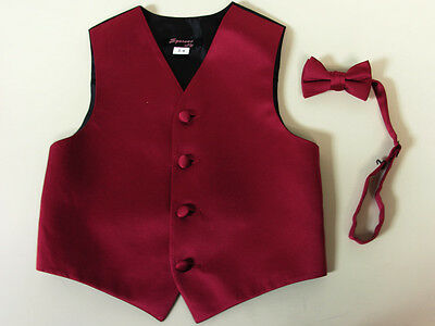 Vest Boys Apple Red Satin Bow Tie Ring Bearer Wedding Party Birthday Formal