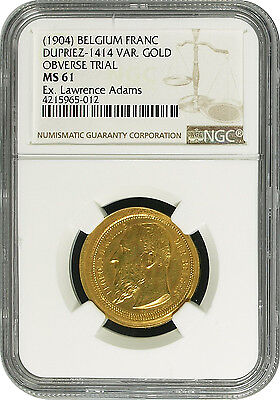 (1904) Belgium Franc GOLD Obverse Die Trial Uniface Overstrike NGC MS 61 UNIQUE