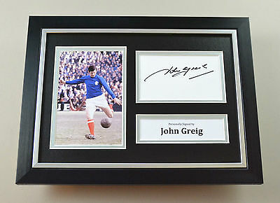 John Greig Signed A4 Photo Framed Rangers Autograph Display Memorabilia + COA