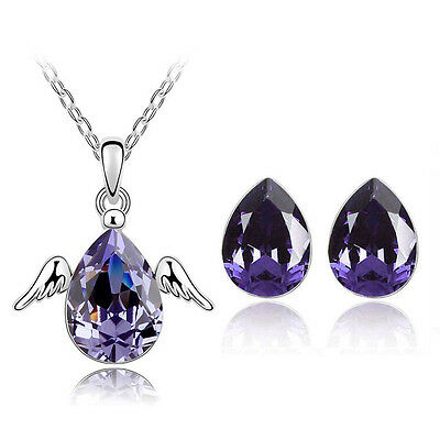 Elegant Jewellery Set Purple Angel Small Stud Earrings & Pendant Necklace S404