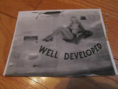 "Vtg Wwii Nose Art Fighting Airplane ""well Developed"" B/w Snapshot Photograph"