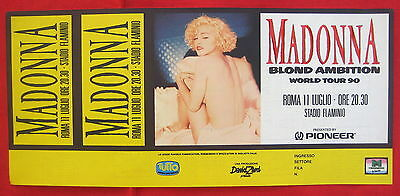 Madonna 1990 Blonde Ambition Rome Italy HUGE GIANT comp ticket embossed