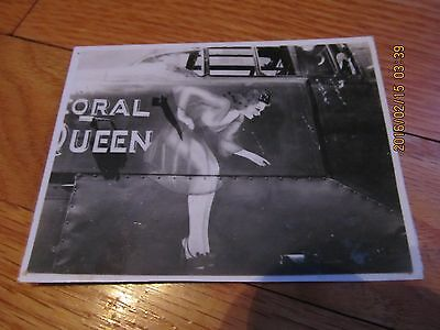 "Vtg Wwii Nose Art Fighting Airplane ""coral Queen"" B/w Snapshot Photograph"