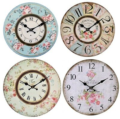 Wall Clock 34cm Wooden Floral Vintage Antique Style Shabby Chic Rose Kitchen