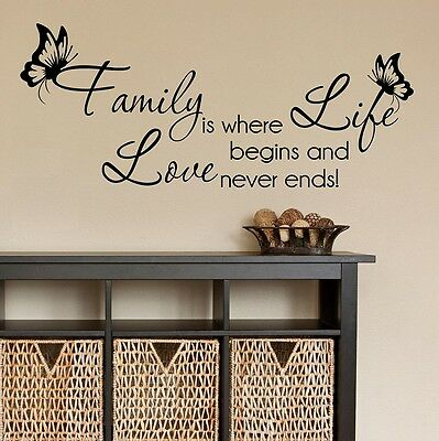 Wall Quotes Family Life Love Wall Sticker Vinyl Wall Art Home Decal SVIL005