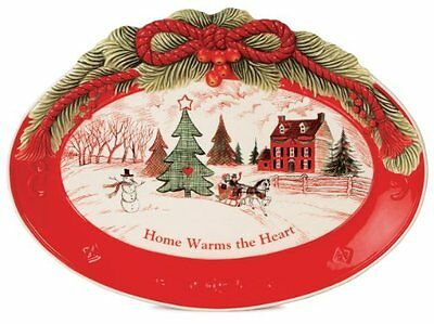 Fitz and Floyd Home Warms The Heart Sentiment Tray, New, Free Shipping