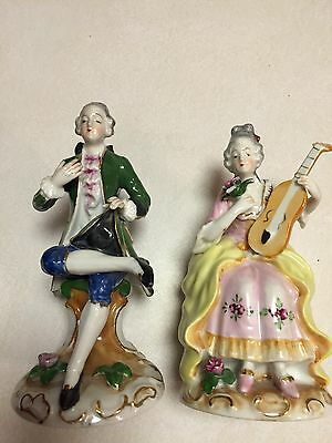Vintage Occupied Japan Pair of Colonial Man & Woman Figurines Signed