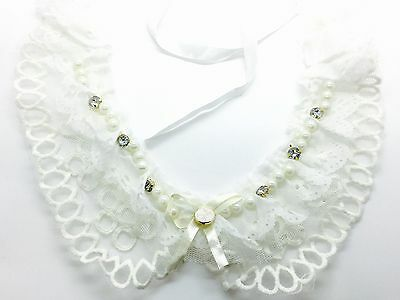 White Lace Peter Pan Collar - Floral Guipure Vintage Necklace with Ribbon