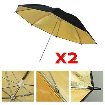 Photography Video Double Layers Black Gold Reflective Light Diffuser 2x Umbrella