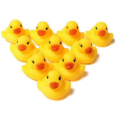 Lot 10pcs Yellow Cute Baby Kids Bath Toy Rubber Race Squeaky Bathing Duck Ducky