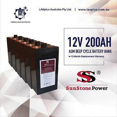 Brand New 12V 200AH 2V x6 AGM Sealed Deep Cycle Solar Battery Bank 12 Years Life