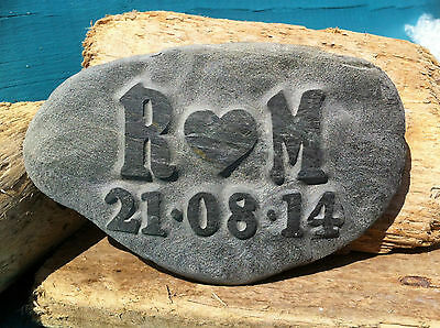 Personalised Love Pebble, hand carved, beach wedding anniversary gift plus date